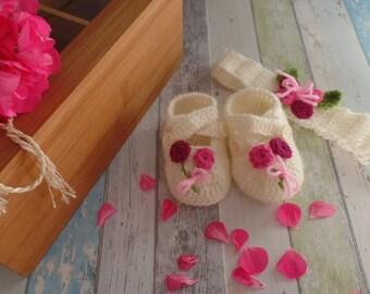 Baby Girl  Shoes and handband set.