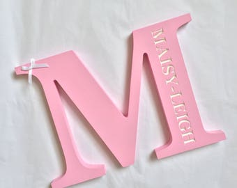Personalised wooden engraved initial letter