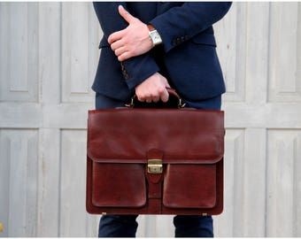 Italian  Leather Briefcase, Business Satchel Bag, Messenger Bags Brown, Leather laptop case