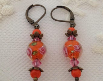 Earrings Orange and pink Lampwork Glass.