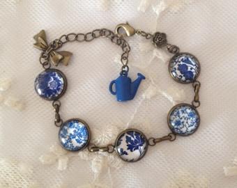 Cameo blue flower bracelet.