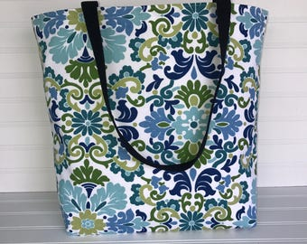 Handmade Everyday Tote | Market Bag | Blue-Green Floral Tote
