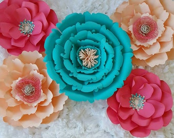 Paper Flowers, set of 5