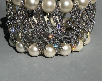 Bridal Pearl Crystal  Bracelet