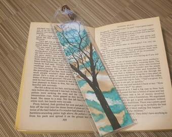 One of a kind tree watercolour bookmark