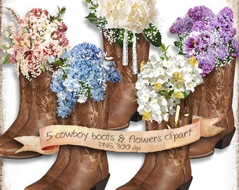 Country Wedding Clipart for DIY Invitations • Cowboy Boots with Flowers Clipart for Shabby Chic Wedding • Watercolor Flowers Clipart