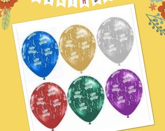 """HappyBday..Latex Balloons 12"""" , Asorted Colors ..."""