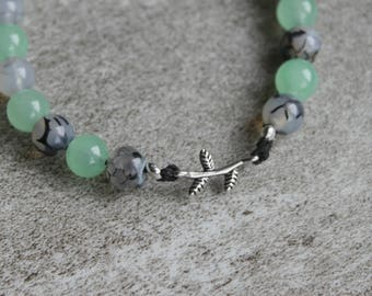 Leaf Branch Agate Gemstone Bracelet with Toggle Closure