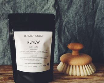 Let's Be Honest skincare. Baths Salts - RENEW 150g. Rose Geranium & Ylang Ylang pure Essential Oils. Gift For Her. Mother's Day
