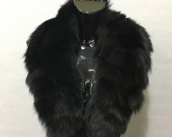 Genuine Real Black Fox Fur Collar