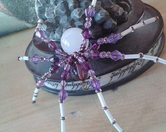 """Arachne"" Purple beads and leather cord necklace"