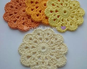 100% cotton crocheted flower drinks coasters/mats x4. Handmade. Protection. Ombre. Gradient. Cream. Yellow. Orange. 12cm-13cm diameter.