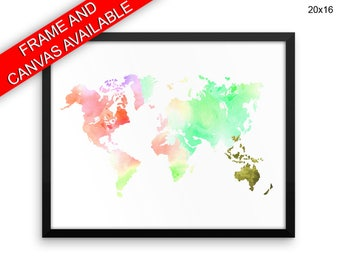World Map Canvas Art World Map Printed World Map  Framed Art World Map watercolor world continents print