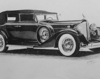 1929 Packard V12 Pencil Drawing