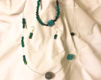 Blue/green abstract floating jewelry set