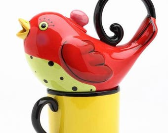 Bird Tea for One Set - Red Bird on Yellow Cup (61536)