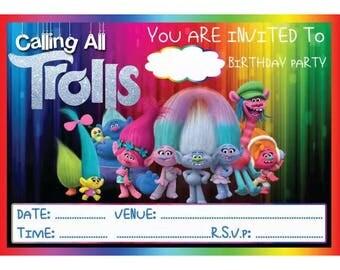 Trolls A6 Children's Birthday Party Invitations