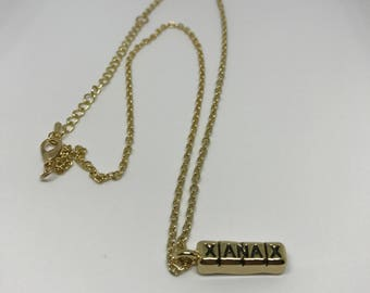 Gold Xanax Necklace Zinc Alloy Bar Hip Hop X/2 60cm Sided Pill Drugs Chain