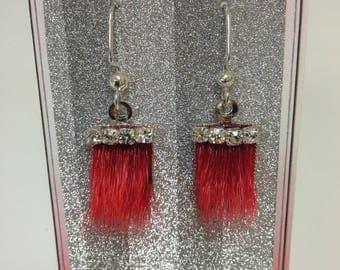Sealskin Earrings with Rhinestones