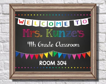 Teacher || Grade || Room number || Printable || Graphic || Black || White || Rainbow || Welcome || Banner || Class || Sign || Classroom