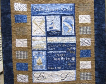 Lake House Rules Throw Quilt or Wallhanging