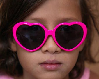 Girls Sunglasses, Child Sunglasses, Heart Shaped Sunglasses, Kids Sunglasses, Kids Accessories, Hot Pink Sunglasses, Fuchsia Sunglasses