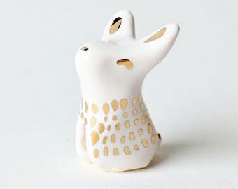 Tiny Porcelain and Gold Rabbit