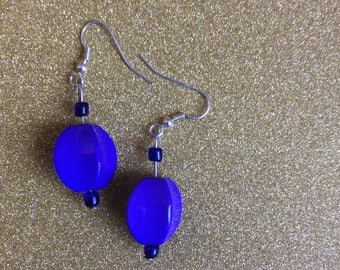 Deep purple 4 sided beaded drop earrings