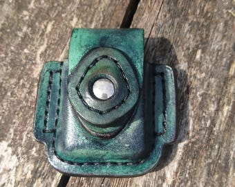 Distressed green belt pouch for zippo or star style lighters