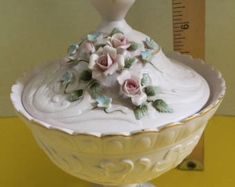 LEFTON Hand Painted PINK ROSES Pedestal Candy Dish with Lid  #1037 - U S Pat Off.