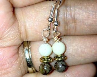 Coffee Jasper & Gold Earrings
