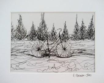 Free Flowing Bicycle Ink Sketch