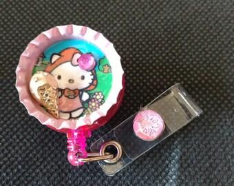 I scream for ice cream Hello Kitty Retractable ID Badge Holder - Nurse - Students - Teachers - Hospital - Office Workers