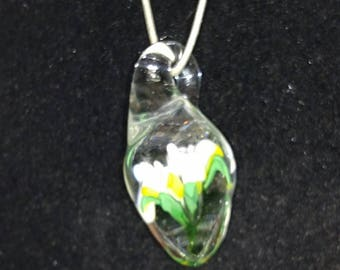 White Flower Implosion Teardrop Pendant Necklace