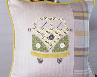 Campervan hand stitched appliqué cushion