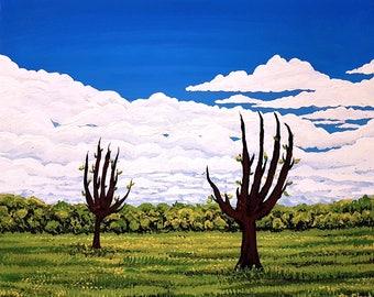 Hello Meadow - original acrylic painting by Flooko