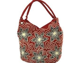 Red Floral Handbag, Hand Embroidered Purse, Beautiful Shoulder Bag