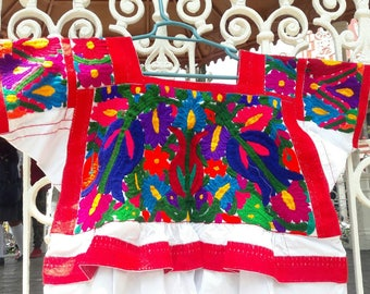 Blouse Embroidered handmade Mexican art