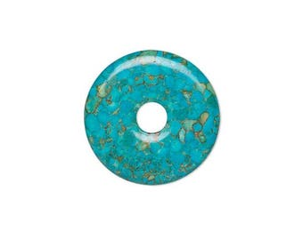 Focal gemstone component mosaic turquoise dyed, blue flat round donut 45mm, focal mosaic blue donut 45mm.