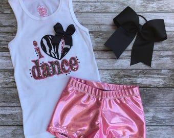 Girls Dancewear,Little Girls Dancewear,Girls Dancewear Set,Girls Girls DancewearOutfit,Tank Dance Top,Dance Shorts,Dance Bow,Dancewear,