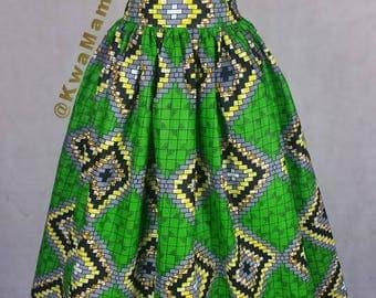 Green Ankara maxi dress, African maxi dress, African prom dress, Ankara maxi dress