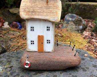 The Clovelly, driftwood cottage, handmade, unique, wooden gift, art, Nautical, sea, beach, shabby.