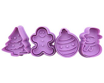 4pcs/Set Christmas 3D Cookie Stamp Cutters- Fondant Biscuit Mold - Pastry Baking Tool Set