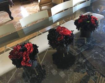 Black Silk Floral Arrangement (Med)