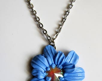 Light Blue Flower Pendant with Crystal.