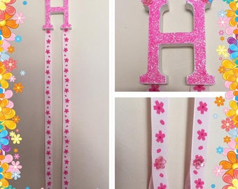 Letter H bow and headband holder pink glitter with Free Bow