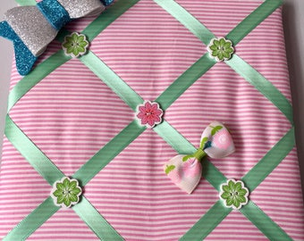 Pink and Green Stripe Bow holder / Memory Board