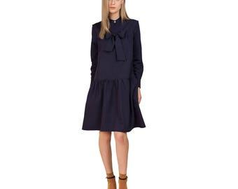Blue dress/Blue dress women/Short dress/Dress blue/Casual dress/Blue ribbon dress/Summer dress/Holiday dress/Day dress/Cute summer dress