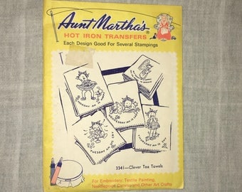 Two vintage Aunt Martha's hot iron transfers