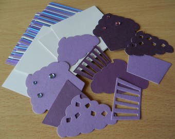 Make your own card kit : Cupcakes Purple